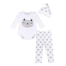 Infantile Bébé Vêtements Ensemble Mode Marque Vêtements Pour Bébés Coton À Manches Longues Nouveau-Né Costume Combinaisons + Chapeau + Pantalon 3 pcs Ternos Bebes