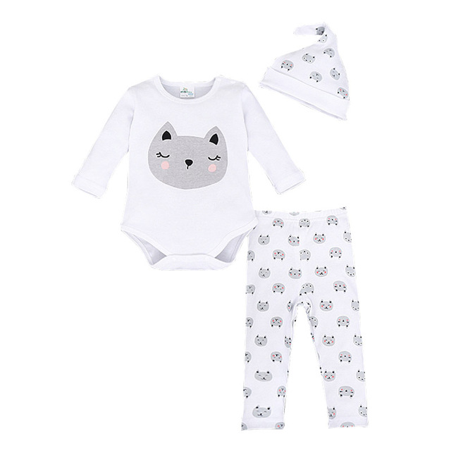 Infant Baby Clothing Set Fashion Brand Clothing For Babies Cotton Long Sleeve Newborn Suit Bodysuits+Hat+Pants 3pcs Ternos Bebes