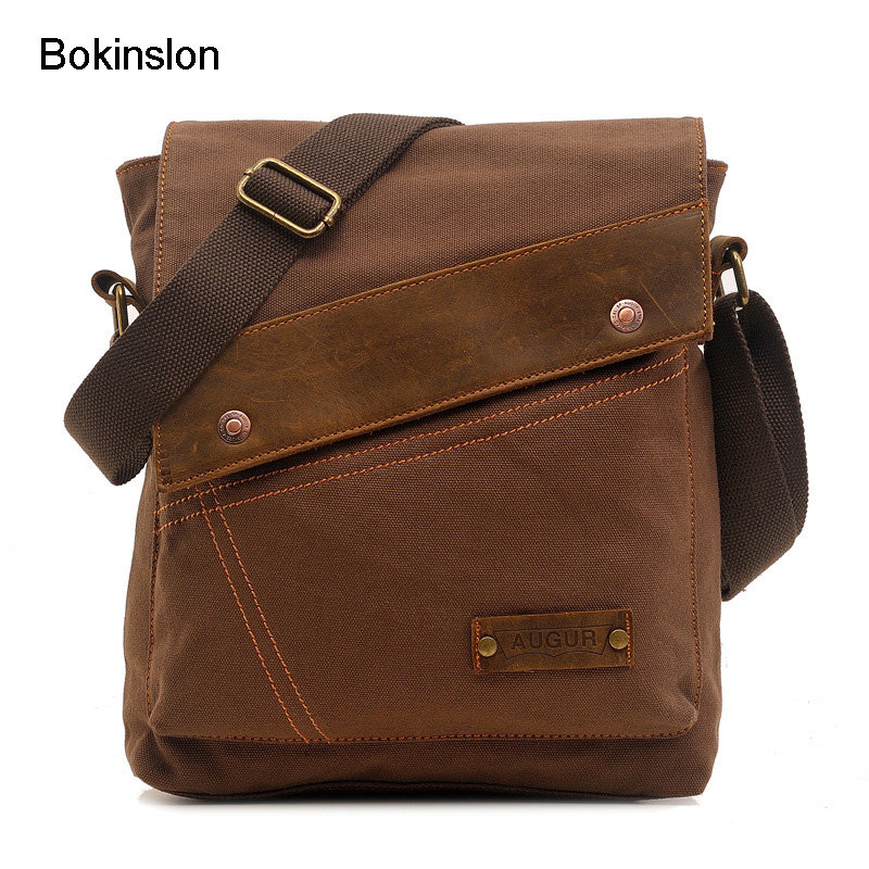 Bokinslon Men Shoulder Bag Casual Canvas Man Popular Shoulder Bag High Quality Practical Luxury Brand Men's Shoulder Bag casual canvas satchel men sling bag