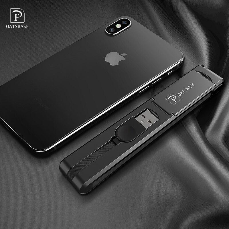 Oatsbasf original 3 in 1 Micro USB Type C 8 Pin USB Cable for iPhone X 8 7 6 Creative Design Hidden USB Data Line for Xiaomi