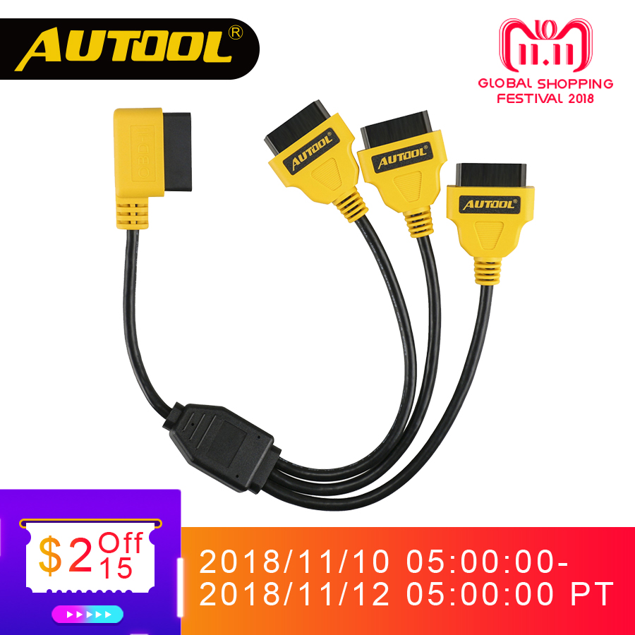 AUTOOL OBD2 Splitter Cable OBD 2 Extend Y Cables 1 to 3 Converter Adapter Wire 50cm J1962M to 3-J1962F OBD2 Extension Split Cord lm323k to 3