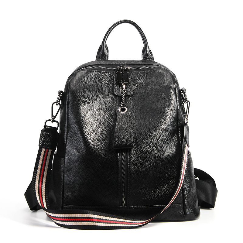цена на Fashion Luxury Genuine Leather backpack Women Plaid Stripe Black Soft Casual Shoulder bags Female Backpack Girl School Bag #M007