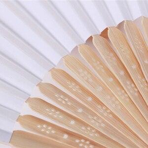Image 5 - Abanico plegable de bambú para bodas, abanicos chinos plegables, 50 Uds., Color blanco