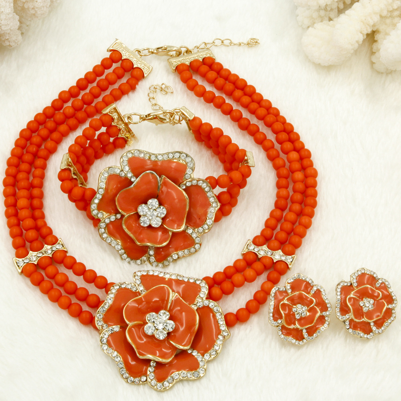 2018 New Gift~Beads Choker Classic Orange Red Blue Roses Nigerian African Beads Jewelry Set Wedding Party Queen Jewelry Sets