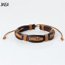 JINSE PSL066 Distinctive Hand Made Leather-based Bracelet,Low cost Seashore Surf Bracelet For Males Ocean Fashion Multi Wire Bracelet Novelty Scorching