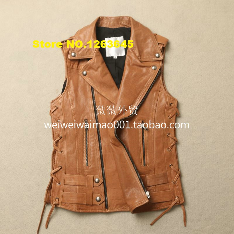 brown genuine leather vest women natural sheepskin turn down collar vest  epaulet casual leather jacket spring - Online Buy Wholesale Womens Brown Leather Vest From China Womens