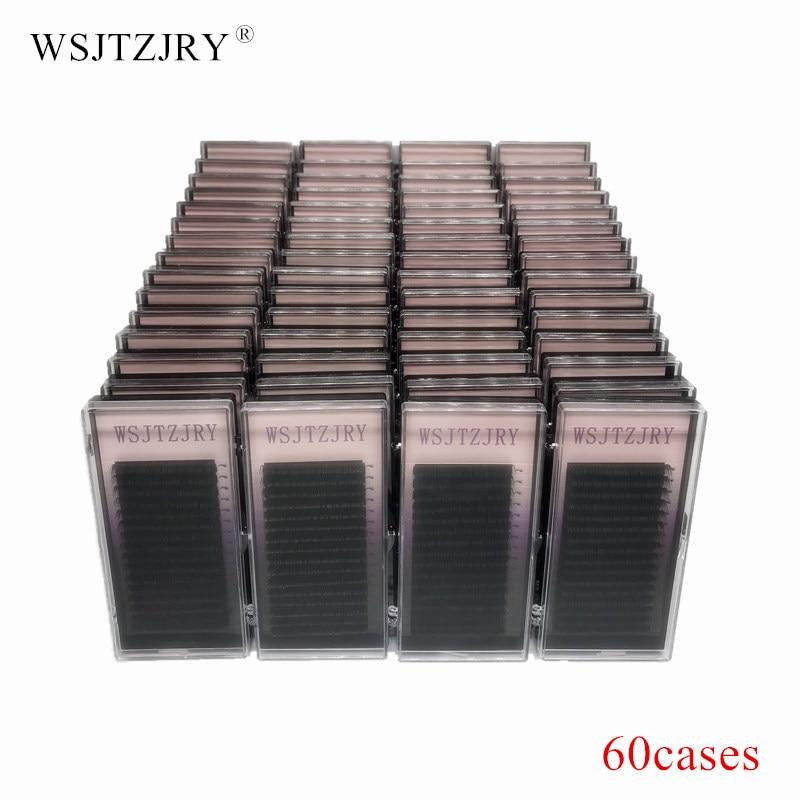 WSJTZJRY 60 cases set 16 rows High quality mink eyelash extension individual eyelashes natural eyelashes fake