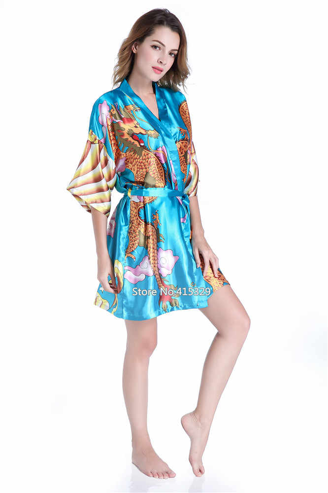 039c5dc4f8 ... 2019 New Female Sexy Short Satin Kimono Robe Ladies Faux Silk Bathrobe  Dressing Gown Novelty Dragon ...