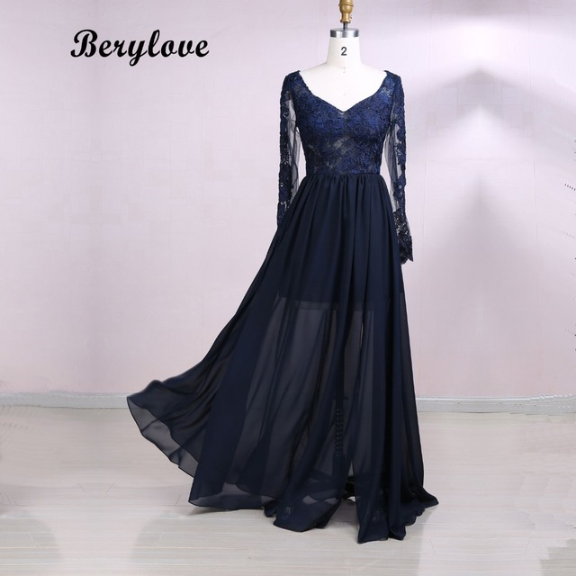 BeryLove Dark Navy Blue Prom Dresses 2018 Long Sleeve Prom Dress With Slit  Lace Evening Dresses Cheap Formal Evening Dresses 4a9d47159016