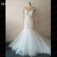 New Arrival Luxury Major Pearl Beaded Mermaid Bridal Wedding Dress with Illusion Long Sleeve See Through Vestido De Noiva