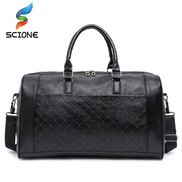 Hot Top PU Leather Gym Bag Large Training Sports Bag For Men Women Travel  Yoga Handbags f03b6876d7