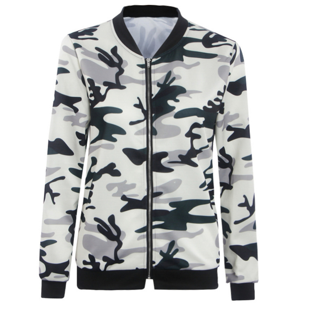 00270c157 2016 Camouflage Floral Print Casual Slim Women Basic Coat Zipper Bomber  Jacket Street Fashion Autumn Outwear Fashion Jackets-in Basic Jackets from  ...