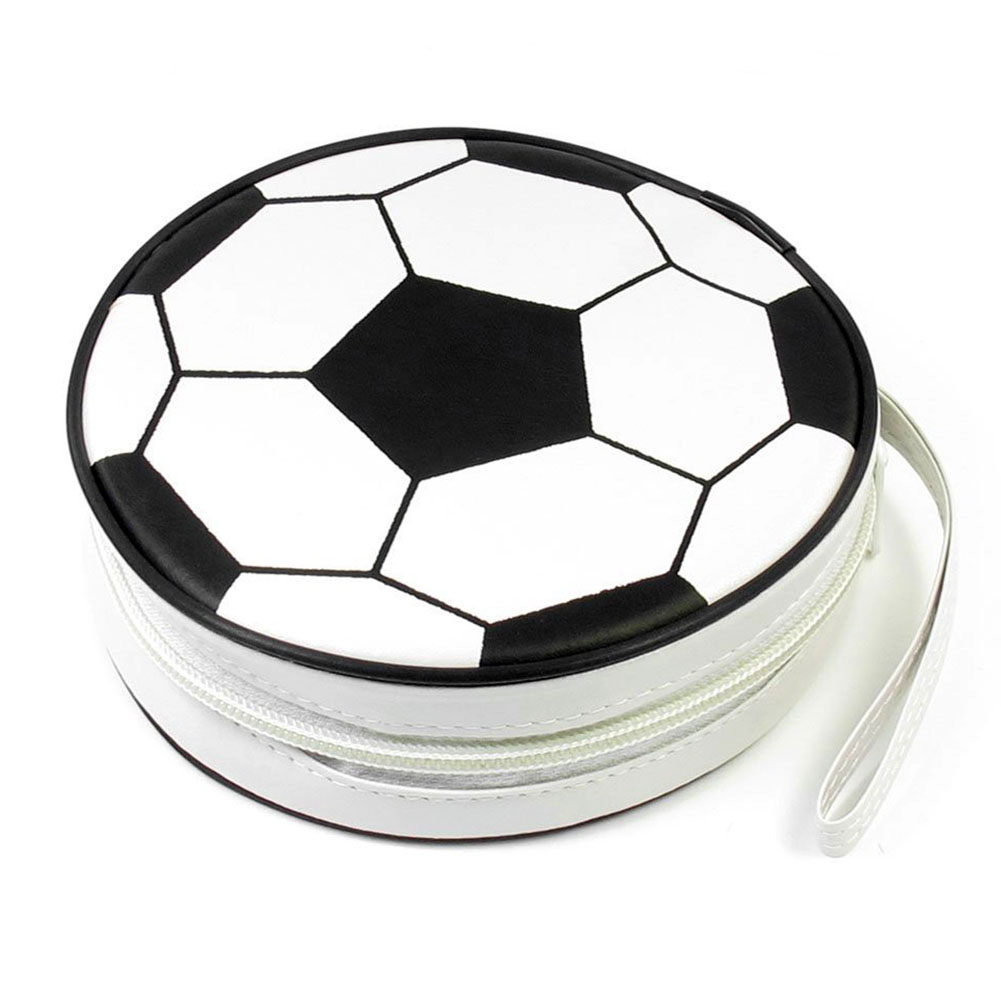 HOT-Football Ptint Zippered 24 Pcs CD DVD Round Wallet bag Black White