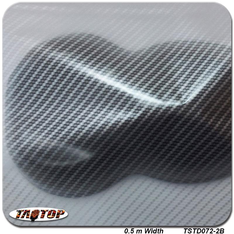 TSST072-2 srebrne przezroczyste włókno węglowe 0.5M * 2M Popularne Hydro zanurzenie Hydrographics Film Transfer wody Drukowanie filmów