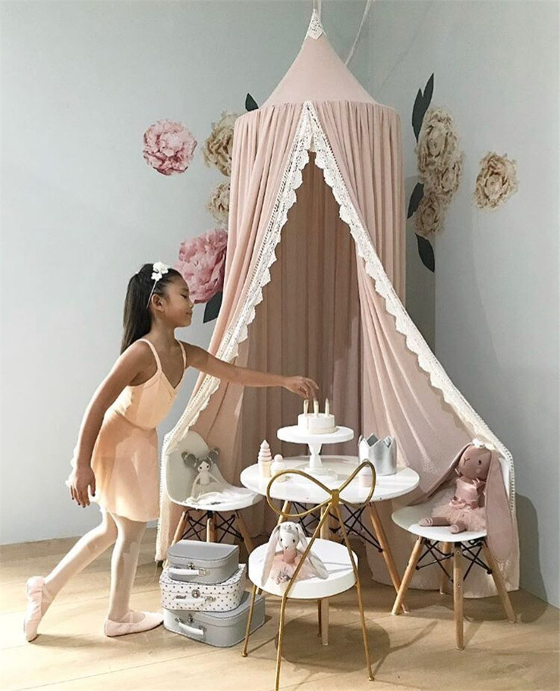 High Quality Princess Lace Mosquito Net Round Dome Bed Canopy Cotton Linen Mosquito Curtain Kids Girl Room Comfort Decoration