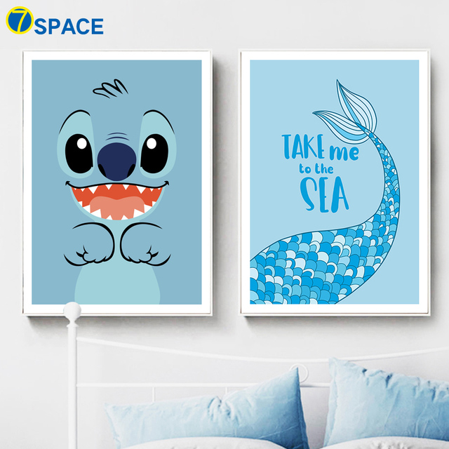7 Space Stitch Mermaid Wall Art Print Canvas Painting Nordic Poster Wall  Pictures For Bedroom