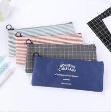 Brief Style Grid & Stripes Canvas Pencil Bag Stationery Storage Organizer Case School Supply Promotional Gift Stationery
