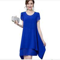 2017 New Women Chiffon Blue Black Dress Women Short Sleeve Summer Style Dress Female Plus Size