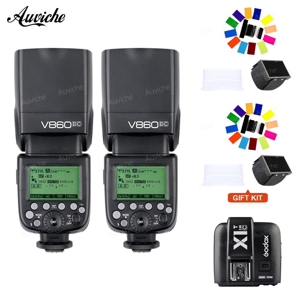 Godox V860 V860II-C Wireless TTL HSS Flash Speedlite Lithium-ion Battery wtih X1T-C Wireless transmitter for canon camera godox v860ii c v860iic speedlite gn60 hss 1 8000s ttl flash light x1t c wireless flash trigger transmitter for canon eos