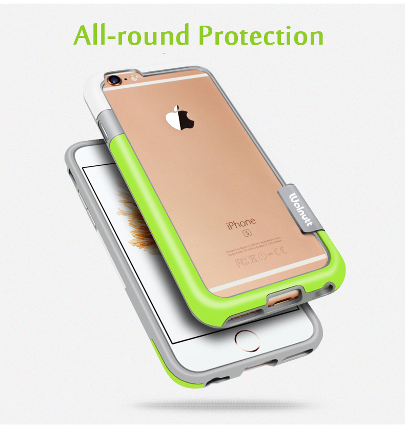 Esamday para iPhone 6s 4.7inch 6 colores Walnutt Soft TPU Hybrid Bumper Frame Case Cover Side Protection para iPhone 6 al por mayor