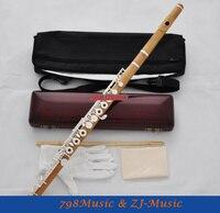 Чисто ручной работы Самшит Деревянный Флейта 17 отверстие серебряные ключи c b ног Дерево Случае