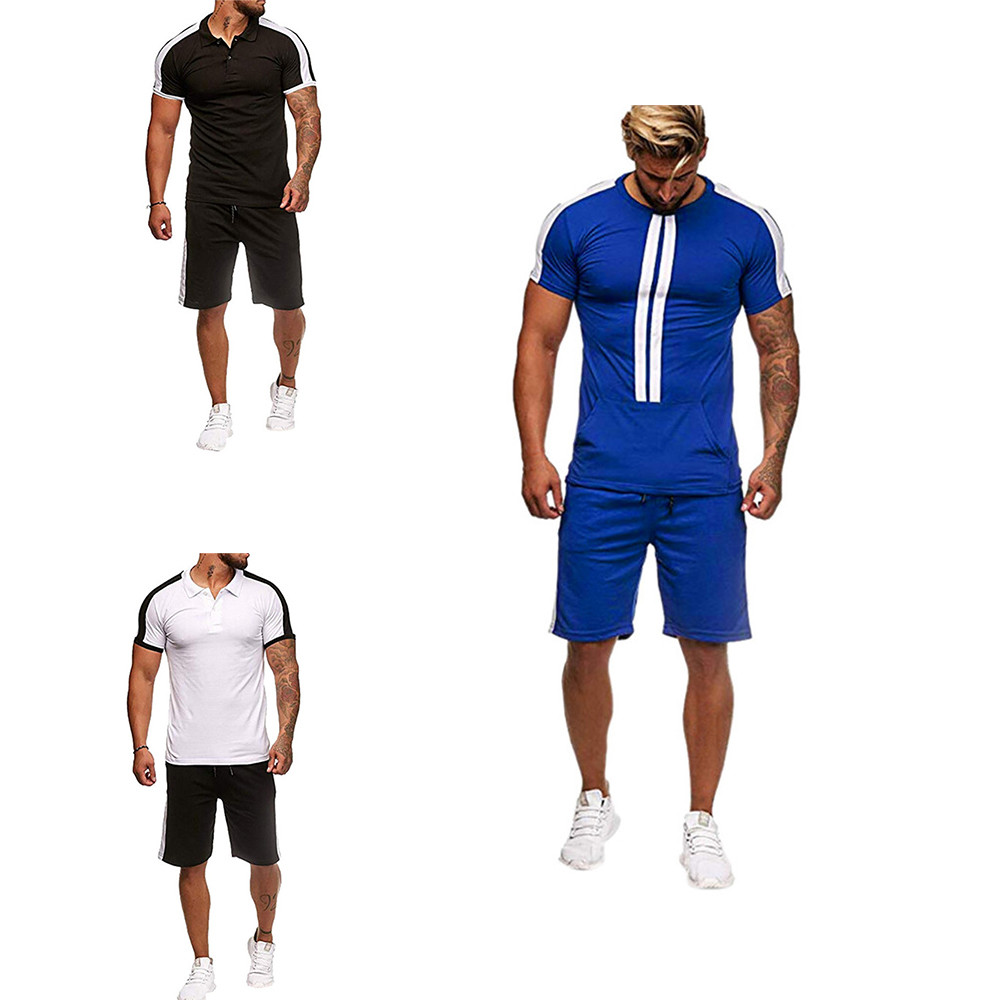 Sexy Beach Tracksuit Men Summer Set Patchwork High Street Polo Shirts + Swimshorts Hip Hop Mens Suit 2019 Party Track Suit