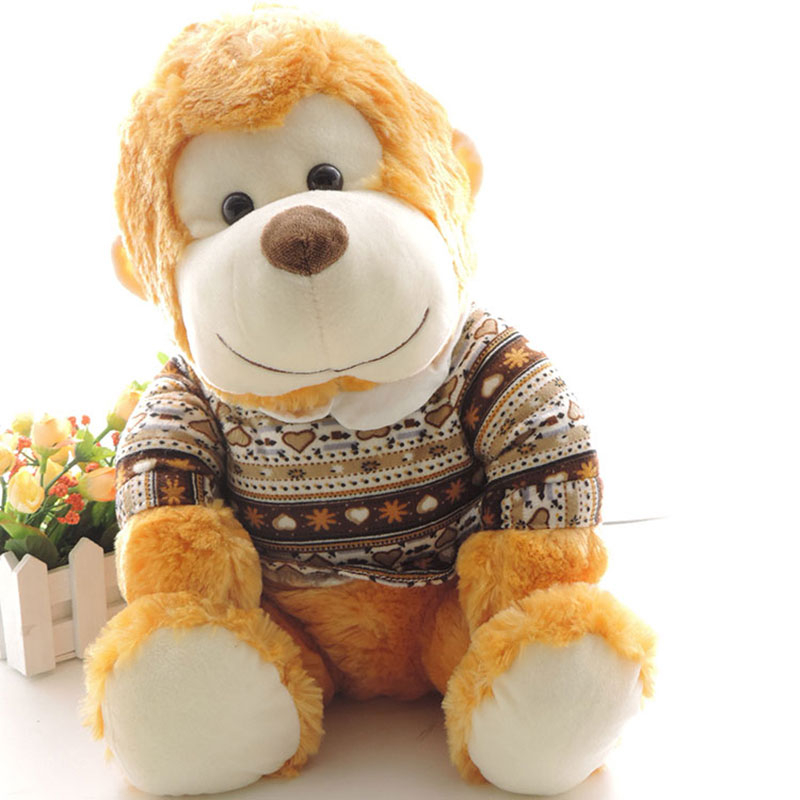 Large Monkey Plush Toy Big Smile Brown Golden Monkeys Stuffed