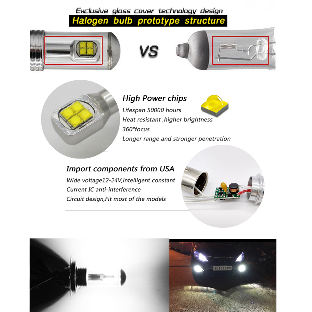 Cjxmx H7 Led Fog Light Bulbs 1500lm Auto Lights For Car Truck Circuit Design 6000k White Automobile Lamp 12v 24v In Headlight Bulbsled