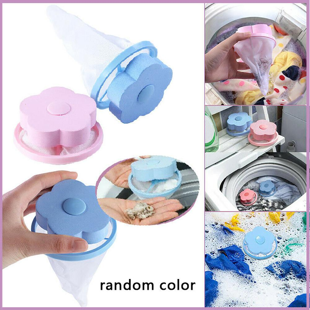 New 1/4Pcs Reusable Flower Filter Net Floating Laundry Lint Pet Hair Catcher Remover Household Helper Laundry Tool Hair Removal