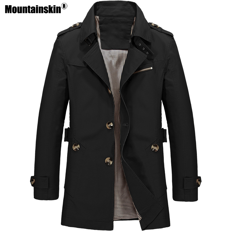 Mountainskin Men's Jacket Slim Fit Spring Autumn Casual Trench Coat Mens Brand Clothing Fashion Coats Male Outerwear 5XL SA623