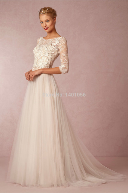 180994ce1f21 Robe De Mariage 2015 Vintage Bohemian Charm Long Sleeve Beach Wedding Dress  Flowing Chiffon Skirt Romantic Vestido De Marriage