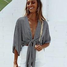 все цены на Women Summer Off Shoulder Crop Top Long Sleeve Casual Loose Shirt онлайн