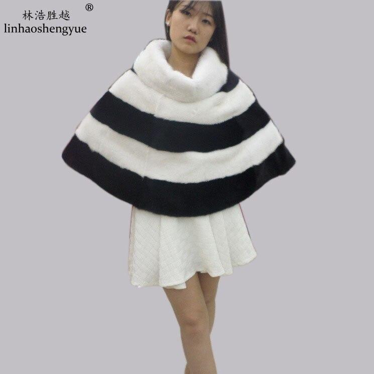 Linhaoshengyue femme tête de vison fourrure châle