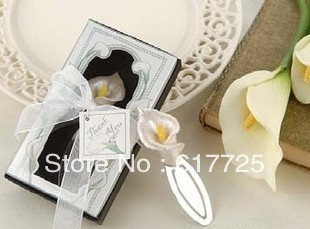 Wedding Favor - 10PCS/LOT Common Callalily Metal Bookmark Baby Gift Book Mark, With White Tassel Festival Christmas Gift