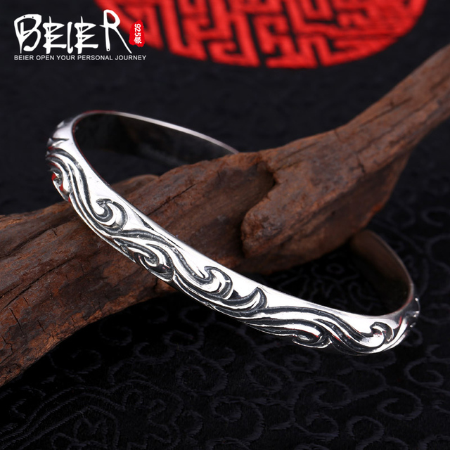 Beier 925 Sterling Silver Bracelet  fashion romantic high quality vintage pattern Bracelet man and women bracelet   BR925SZ006