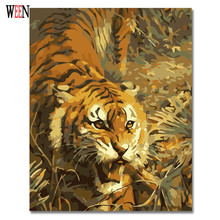 WEEN Tiger Wall Pictures by number DIY Handpainted Amimal Oil Painting Coloring For Home Decor Artwork 2017 New Gift