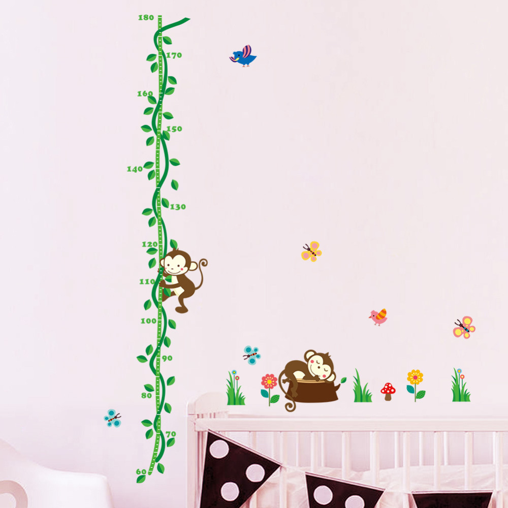 Tree Monkey Bird Removable Cartoon Wall Decal Stickers Growth