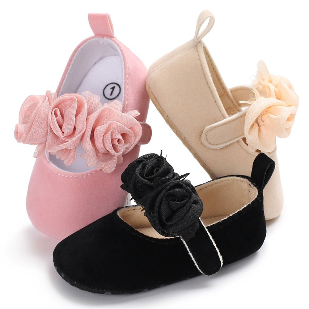 Infant Baby Floral Mary Jane Shoes Moccasins Princess Dress Flats Non Slip Soft Sole Cotton First Walker