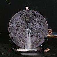 Dragon Dish Backflow Incense Burner Ceramic Incense Holder Backflow Censer Smoke Flow Waterfall + 10PCS Incense Cones