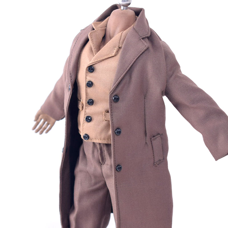 """1:6 WWII Common People Civilians Brown Wool Greatcoat Suit for 12/"""" Action Figure"""
