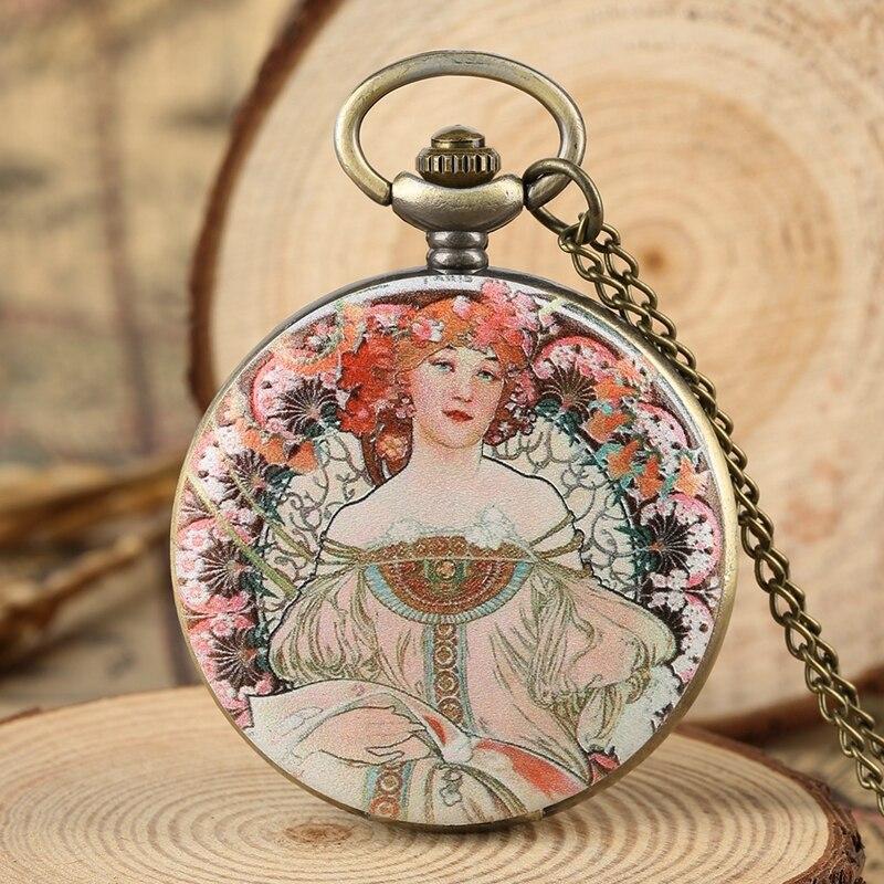 Vogue Beauty Woman Flowers Cover Quartz Pocket Watch Fashion Sweater Necklace Chain Clock Souvenir Gifts For Women Girls Friends