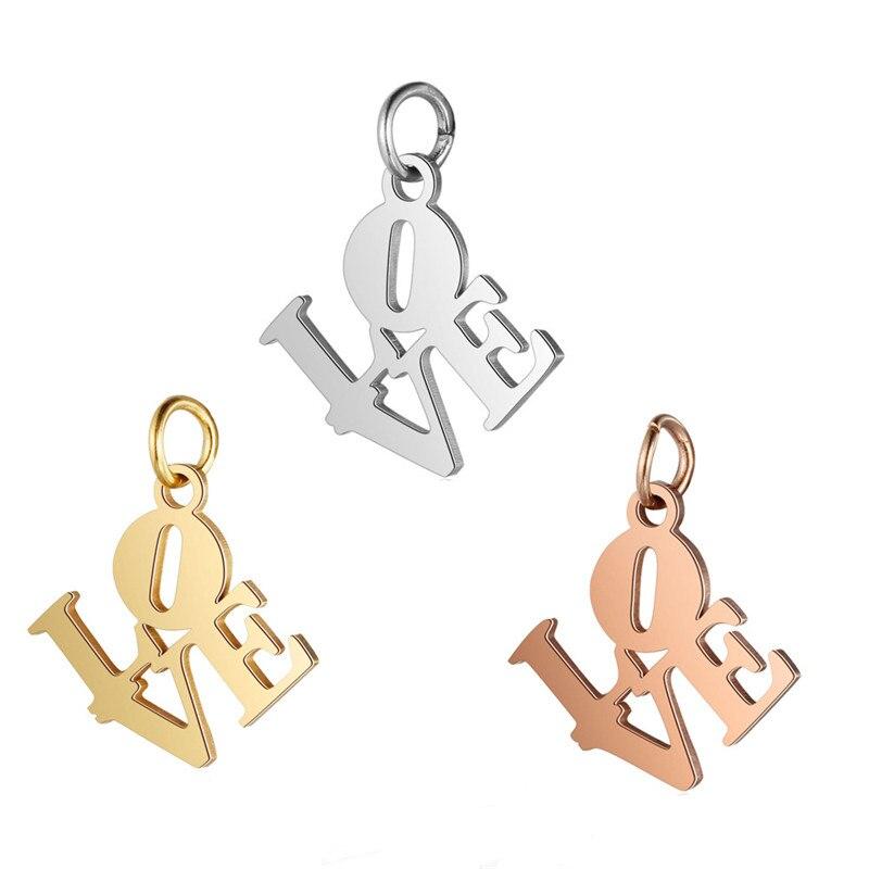 LOULEUR 2 adet/grup 16x19mm paslanmaz çelik aşk mektupları Charms kolye altın renk kolye DIY takı yapımı
