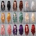 Caliente venta barato ondulada larga anime plata / gris / rojo 12 colores cosplay peluca, kanekalon fibra sintética de pelo del partido de las mujeres peruca