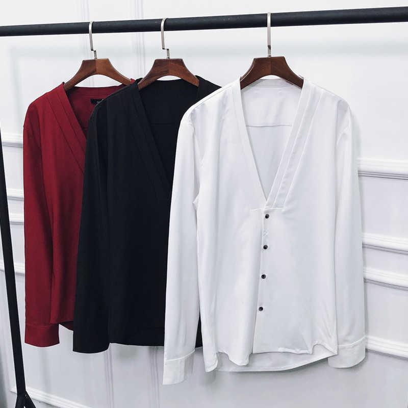 V ネックスタイルのドレスシャツ男性 2019 秋のファッションシャツ男性黒、白、赤固体長袖カジュアルスリムフィット男性シャツ