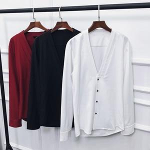 Image 5 - camisas hombre 2019 otoño nuevo camisas hombre manga larga cuello en V slim fit streetwear camisa hombre vestir