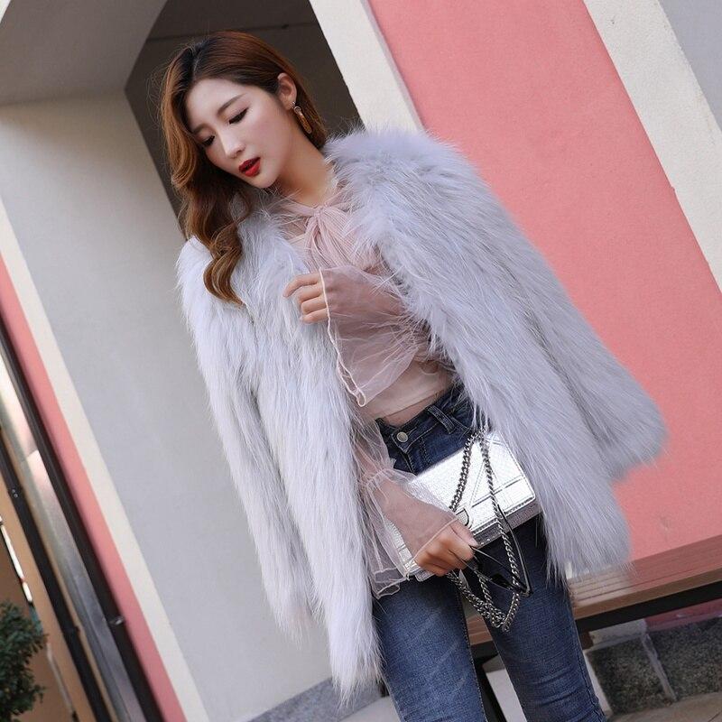 Blue white Tricoté Blue Vestes Mode Fourrure middle dark Long beige Moyen light Pink De Chaud Nouvelle Gray Dames Outwear Laveur Raton skey Vraie Naturel Femmes Femme 2018 Gray Manteau xRIw4qWOFn