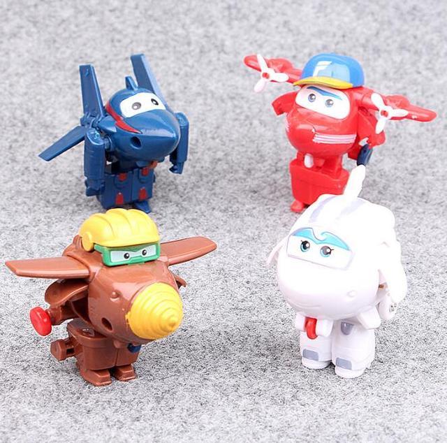 4 шт./лот Super Wings Мини Фигурки Игрушка трансформации самолет робот Игрушки superwings collectio для детей подарок на день рождения