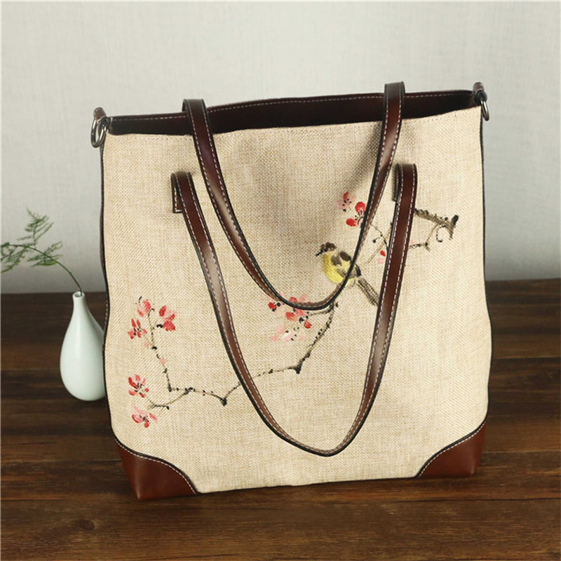 China National Style Canvas Shoulder Messenger Bag PU Hand-Painted - Handbags