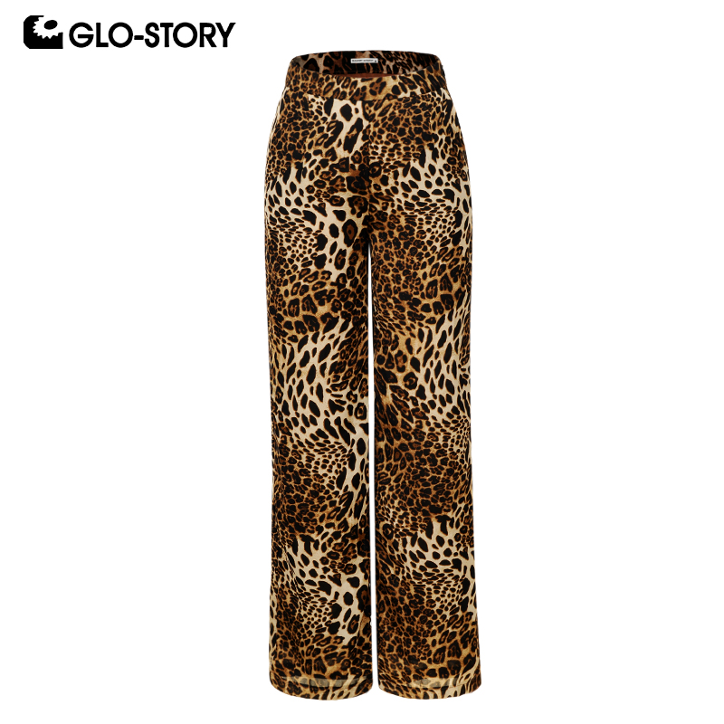 GLO-STORY 2019 Fashion Ladies Spring Casual Leopard Wide Leg Pants Female Bottom Zipper Fly Modis Trousers  WSK-8392