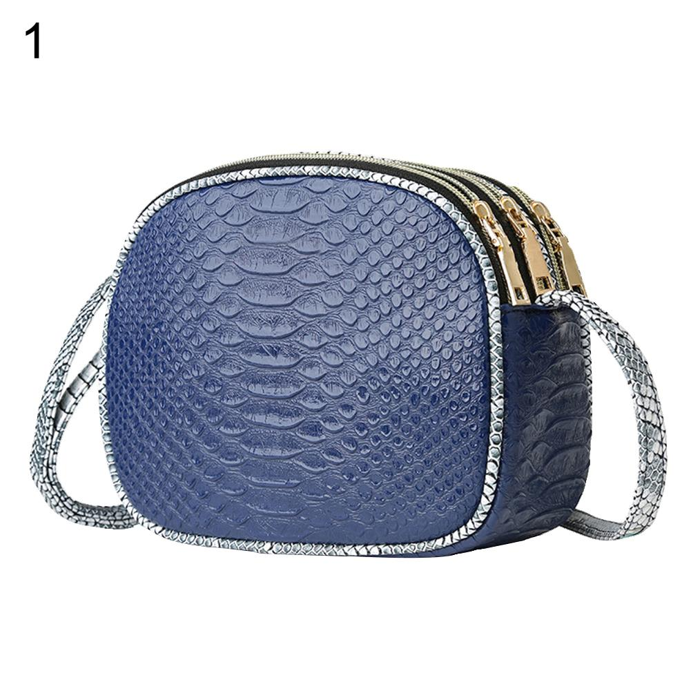 Women Snakeskin Faux Leather 3 Zipper Bag Shopping Crossbody Shoulder Pouch Gift Women Snakeskin Faux Leather 3 Zipper Bag Shopping Crossbody Shoulder Pouch Gift